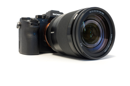 sony: 27. 10. 2015: BERLIN - GERMANY,  Sony Alpha a7R II ILCE-7RM2 Mirrorless Digital Camera. With a worlds first full-frame 42.4-megapixel Exmor R back-illuminated structure CMOS sensor Editorial