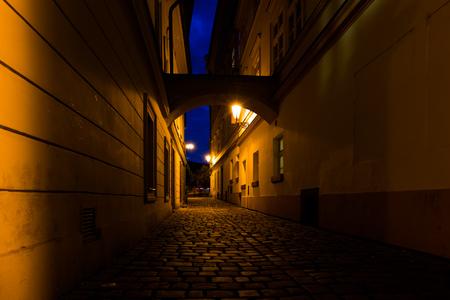 alley: Prague night street