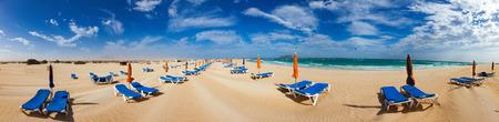 Sunbed on beach, Fuerteventura, Canary Islands, Spain