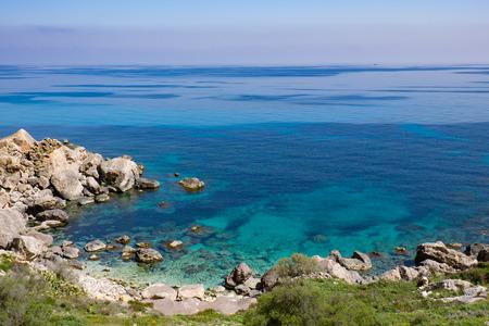 panoramic view: Sea bay in Malta Stock Photo