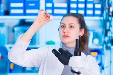 microscope slide: woman  technician with microscope slide in lab Stock Photo