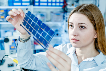 Development of Film solar cell Stock Photo
