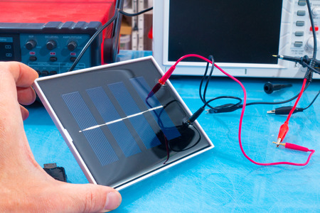 voltaic: solar cell research in electronics laboratory Stock Photo