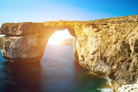 azure coast: Azure Window, natural arch, famous landmark and popular tourist spot, on Gozo island, Malta