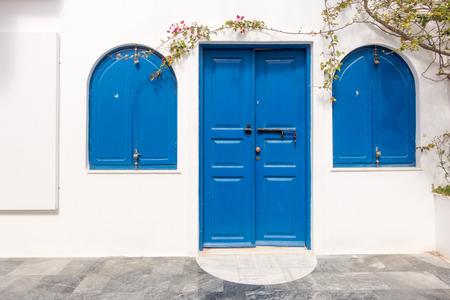 wood door: Wooden blue door and windows. Santorini. Greece