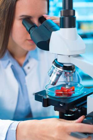 productos quimicos: Control de calidad de los productos alimenticios. Mujer joven en el laboratorio químico. Prueba de la fresa