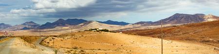 stone volcanic stones: fuerteventura panoramic landscape Stock Photo