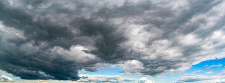 dark skies: Storm cloud sky panorame, day time