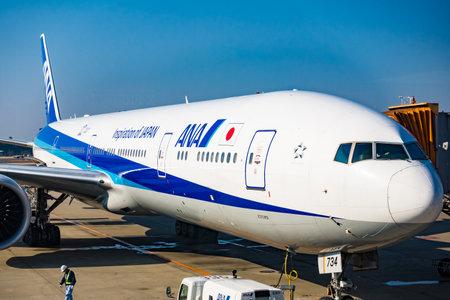 chubu: NAGOYA, JAPAN - JANUARY 7, 2016: Aircrafts ANA at Chubu Centrair International Airport.