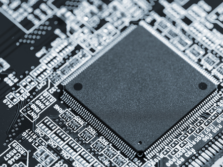 pcb: integrated circuit on the PCB Stock Photo