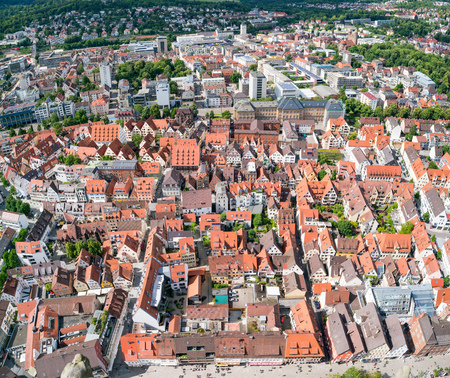 primarily: ULM, GERMANY - JUNE 18, 2016: Ulm and Danube river bird view, Germany. Ulm is primarily known for having the tallest church in the world, and as the birth city of Albert Einstein.