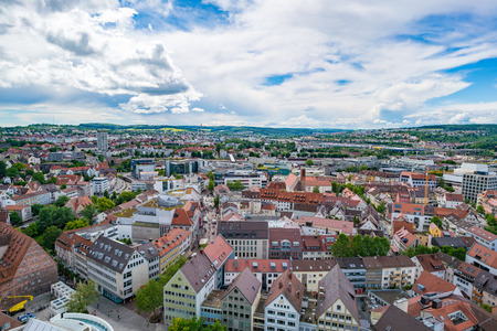 urban landscapes: ULM, GERMANY - JUNE 18, 2016: Ulm and Danube river bird view, Germany. Ulm is primarily known for having the tallest church in the world, and as the birth city of Albert Einstein.