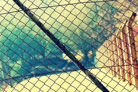 rabitz: Mesh netting Rabitz on the fence Stock Photo
