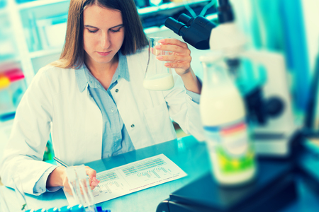 food research: microbiological and chemical quality control of milk Stock Photo