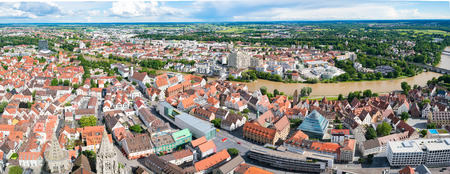 albert: ULM, GERMANY - JUNE 18, 2016: Ulm and Danube river bird view, Germany. Ulm is primarily known for having the tallest church in the world, and as the birth city of Albert Einstein.