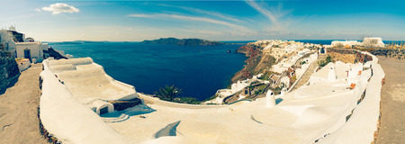 thera: Santorini - The panorama of Oia and the Therasia