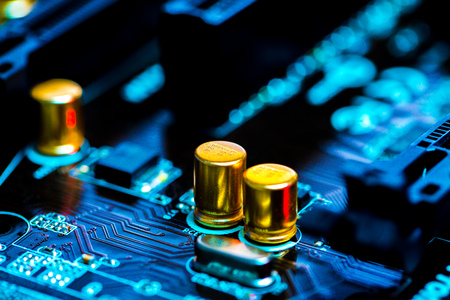 information science: The concept of microelectronics. Detail of printed circuit board