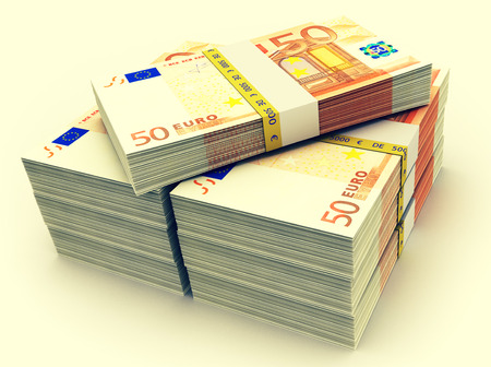 money pile: Euro paper money pile on white