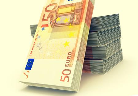 pile of money: Euro paper money pile on white