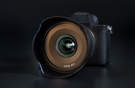 Mirrorless Fast-focusing and 4K-shooting Digital Camera with 18mm wide-angle Lens Stock Photo