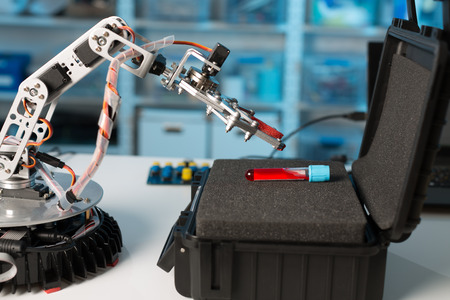 Robot arm  with test tube