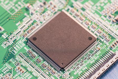silicon chip on a circuit board microprocessor