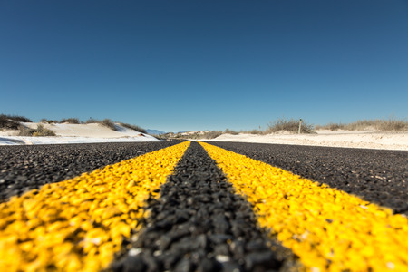 yellow line: Yellow strips on road close-up, dividing line Stock Photo