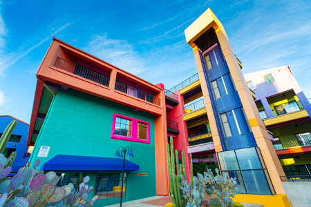 tuscon: TUCSON - DECEMBER 01: Colorful buildings of La Placita Village Shopping Center in downtown Tucson, AZ, USA Editorial