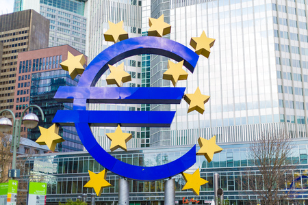 business funds: Giant Euro Sign in front of the European Central Bank in Frankfurt, Germany