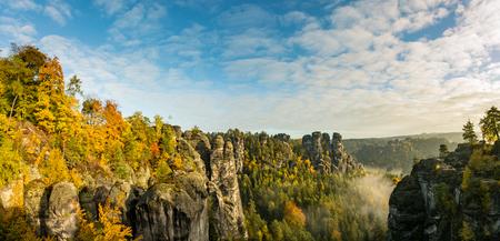 saxony: Bastei bridge on Saxony mountains Stock Photo
