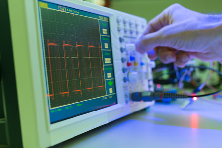 oscillograph: Measuring devices in the electronics lab Stock Photo