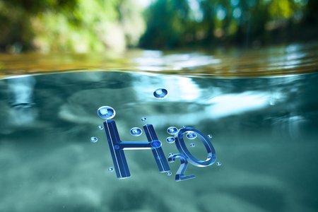 ?oncept of renewable natural resources. Chemical formula water H2O in water Stock Photo
