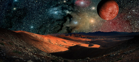 Fantastic landscape of another planet. Desert Night with stars and galaxies