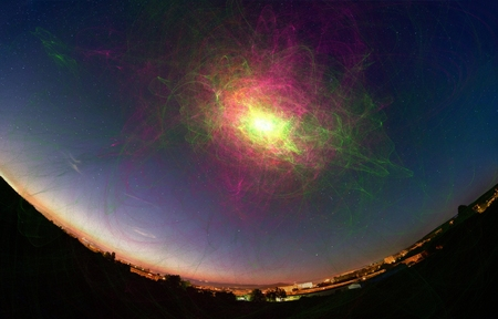 futuristic nature: Explosion of a supernova in space view from the the earth