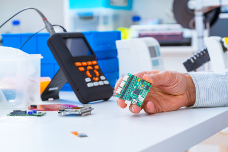 Assembly of DIY  electronic devices in laboratory Stock Photo