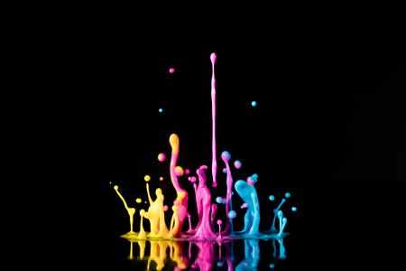 guar: ?bstract sculptures of colorful splashes of paint. Dancing liquid on a black background. Ink water splash. Color explosion. 5 Stock Photo