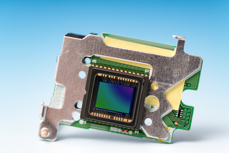 ccd: The concept of the development of modern light-sensitive CCD sensor Stock Photo