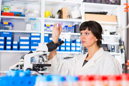 Jonge vrouw in biologisch laboratorium. Aantrekkelijke jonge vrouwelijke wetenschapper. Meisje met een glijbaan voor het microscoop Universitair Ziekenhuis