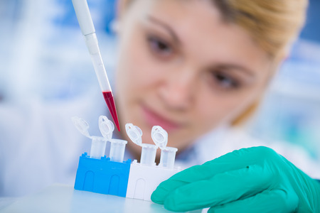 A young chemist holding test tube with liquid during chemical experiment. Assistant in laboratory with pipette research of cancer stem cells. Female medical or scientific researcher using test-tube on laboratory.Woman cientist concentrates to load stri Stock Photo