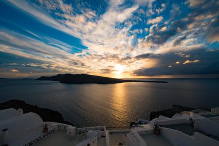 Oia village panorama, view of Santorini caldera at sunset , Santorini island, Greece