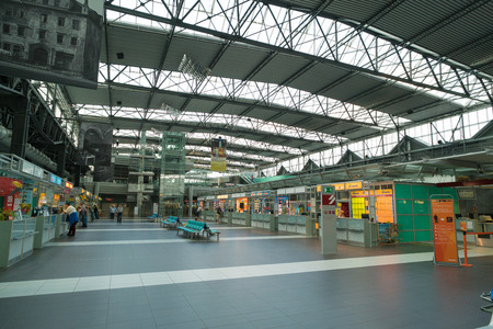 railway transportations: DRESDEN, GERMANY - APRIL 05,2016: Panorama of  railways station of Dresden.Rail transport in Germany is at a very high level of progress. Saxony, Germany.