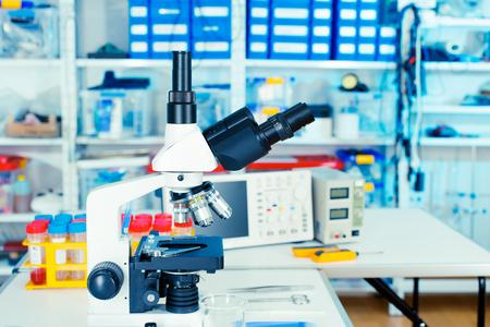 bio medicine: Microscope in laboratory interior Stock Photo
