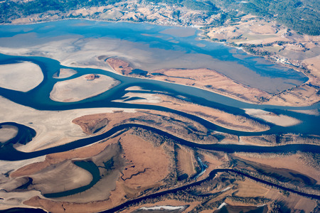 aerial view of earth river delta Stock Photo