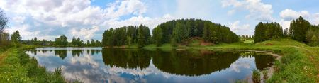 Panorama of the forest lake