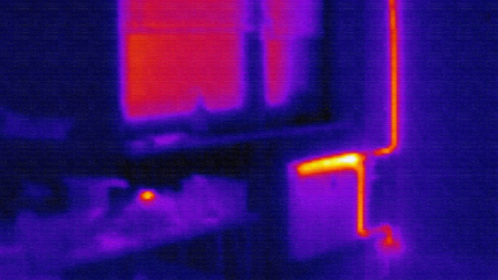 thermal image: infrared photo of home heating system