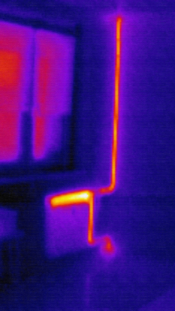 ir: infrared photo of home heating system