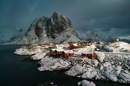 Snow in Mountain. Winter background in Reine, Lofoten Islands, Norway Stock Photo