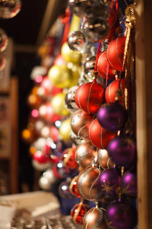 Christmas baubles in the Christmas market