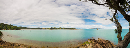Panorama of a sea bay and a sandy beach in new Zealand Zdjęcie Seryjne