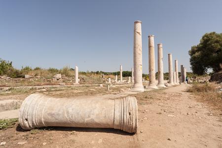 古代ギリシア、トルコ Side の時代の考古学的遺跡 写真素材
